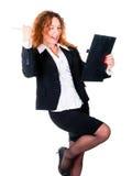 affärsavtalet tycker om den spännande lyckade kvinnan arkivfoto