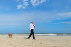 Aff?rsman med hunden p? stranden fotografering för bildbyråer