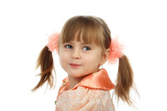 Affable kid. Beautiful emotion girl. Shot in a studio Royalty Free Stock Image
