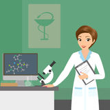 Affable pharmacist woman in the laboratory Stock Images