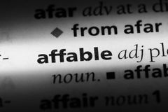 Affable. Word in a dictionary.  concept Royalty Free Stock Image