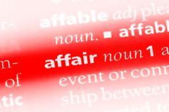 Affair. Word in a dictionary.  concept royalty free stock photography