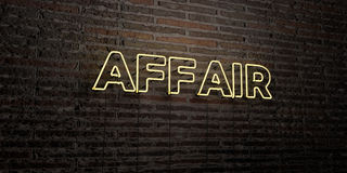 AFFAIR -Realistic Neon Sign on Brick Wall background - 3D rendered royalty free stock image Royalty Free Stock Photography