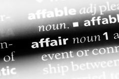 Affair. Word in a dictionary.  concept stock photo