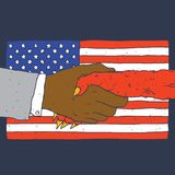 Affaire avec le drapeau américain de diable sur le fond Photographie stock libre de droits