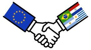 Affaire d'affaires de MERCOSUR d'UE, accord de libre-échange, poignée de main, amitié, concept, graphique images libres de droits
