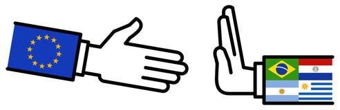 Affaire d'affaires de MERCOSUR d'UE, accord de libre-échange, poignée de main, amitié, concept, graphique image stock