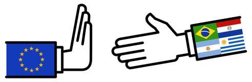 Affaire d'affaires de MERCOSUR d'UE, accord de libre-échange, poignée de main, objection, amitié, concept, graphique photo libre de droits