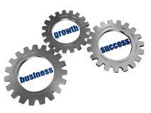 Affaires, accroissement et réussite dans des roues dentées de gris argenté Photos libres de droits