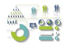 Affaires bleues et vertes produites par Digital infographic Image libre de droits