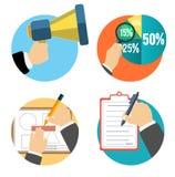 Affaires, bureau et icônes d'articles de vente. Photo libre de droits
