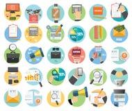Affaires, bureau et icônes d'articles de vente Image stock