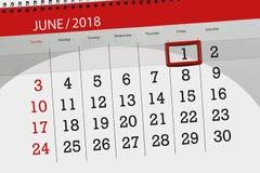 Affaires calendrier page 2018 1er juin quotidien Image stock