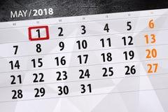 Affaires calendrier page 2018 le 1er mai quotidien Photographie stock