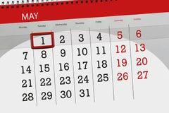 Affaires calendrier page 2018 le 1er mai quotidien Image stock