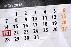 Affaires calendrier page 2018 le 21 mai quotidien Image stock