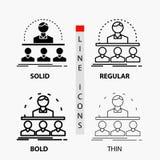 Affaires, car, cours, instructeur, icône de mentor dans la ligne et le style minces, réguliers, audacieux de Glyph Illustration d illustration libre de droits
