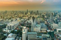 Affaires centrales de ville de Bangkok de vue aérienne du centre Photos stock