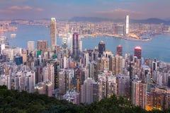 Affaires centrales de ville de Hong Kong de vue aérienne du centre Photographie stock libre de droits
