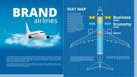 Affaires d'avion ou calibre de découpe blanc de carte de Seat de classe touriste Photos libres de droits