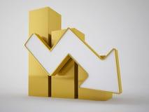 Affaires d'or de flèche Photo stock