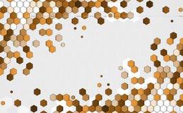 Affaires d'hexagone de point de concept et interdiction brunes abstraites de technologie Images stock