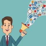Affaires d'homme tenant le marketing numérique de haut-parleur Photo libre de droits