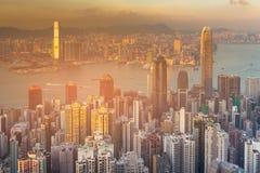 Affaires d'immeuble de bureaux de Hong Kong de vue aérienne du centre Image libre de droits