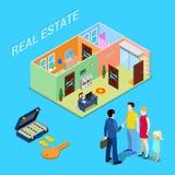 Affaires d'immeubles Agent Selling Apartment de courtier à la jeune famille Personnes isométriques Images libres de droits