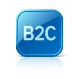 Affaires de B2C à l'icône du consommateur sur le bouton bleu de Web Photos libres de droits