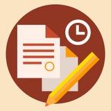 Affaires de temps et travail de bureau illustration stock