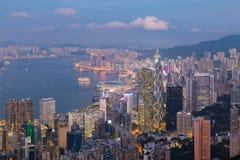 Affaires de ville de Hong Kong de vue aérienne du centre Photos stock