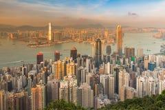 Affaires de ville de Hong Kong de vue aérienne du centre Photo stock