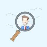 Affaires en verre de agrandissement Person Portrait Candidate Concept Recruitment de bourdonnement illustration de vecteur