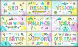 Affaires et affiches linéaires de renforcement d'équipe créatif illustration stock