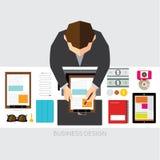 Affaires et conception conceptuelle de vecteur de bureau Image stock