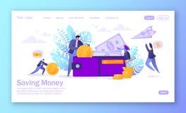 Affaires et finances, thème économisant d'argent Concepy de carrière, salaire, revenus profitent Caractère plat d'homme d'affaire illustration stock