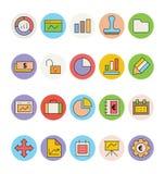 Affaires et icônes 1 de vecteur colorées par bureau illustration libre de droits