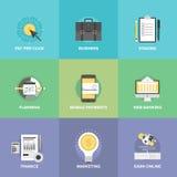 Affaires et icônes financières d'appartement service compris de Web Photographie stock