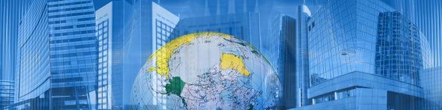 Affaires et réussite mondiales d'en-tête Image stock