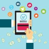 Affaires faisant des emplettes en ligne sur le mobile illustration libre de droits