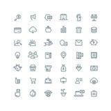 Affaires, finances, planification, analytics, opérations bancaires, ligne icônes de vecteur de vente de filiale réglées Images libres de droits