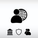 Affaires globales, icône d'homme d'affaires, illustration de vecteur De plat Photos libres de droits