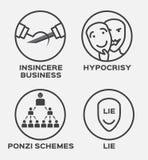 Affaires, hypocrisie, mensonge et icône pas sincères de gagnant Concept d'affaires Images libres de droits