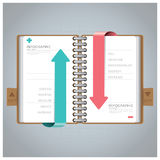 Affaires Infographic avec Ring Notebook Arrow Bookmark Diagram illustration libre de droits