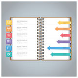 Affaires Infographic avec Ring Notebook Arrow Bookmark Diagram Photo stock