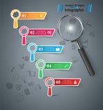Affaires Infographics Icône de loupe Image stock