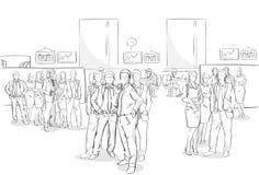 Affaires intérieures Team Hand Drawn People de bureau de foule d'hommes d'affaires de croquis Photos stock