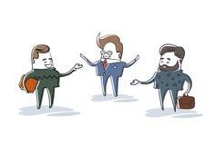 Affaires Man Group parlant, caractère de Meeting Discussion Cartoon d'homme d'affaires intégral illustration libre de droits