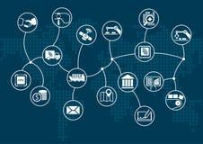 Affaires numériques disruptives et Internet industriel des choses (industrie 4 0) concept illustration stock